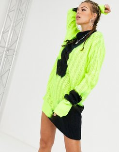 knitted high neck sweater dress in bleached neon-Green
