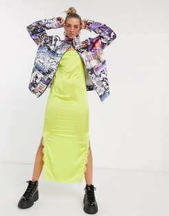 oversized quilted jacket in glitch print-Multi