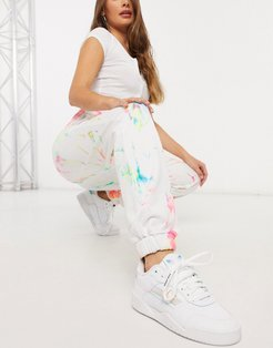 oversized sweatpants in grunge tie-dye and graphics-White