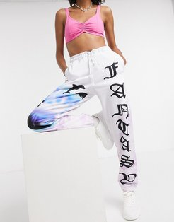 oversized sweatpants with fantasy dolphin graphic two-piece-White