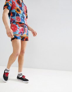 shorts in fish and floral print-Blue