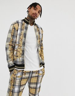 track top in baroque check print-Beige
