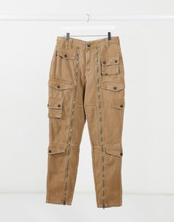 twill cargo pants with pockets in beige