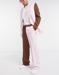two-piece split hem loose fit pants in pink and chocolate