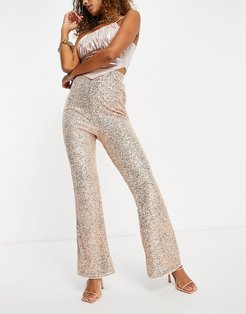 wide leg coordinating pants in rose gold sequin-Pink