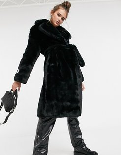 longline faux fur coat in recycled polyester with belt-Black