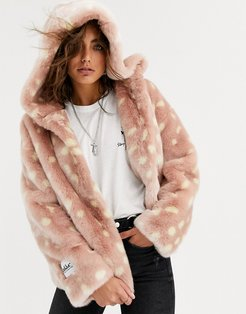 relaxed crop jacket with hood in faux fur fawn print-Pink