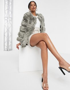 classic faux fur stripe jacket in gray