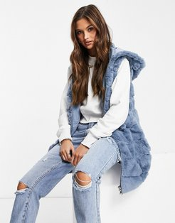 faux fur hooded zip through vest in blue