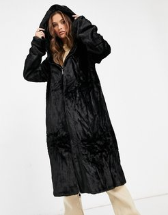 long length hooded faux fur drawstring jacket in black