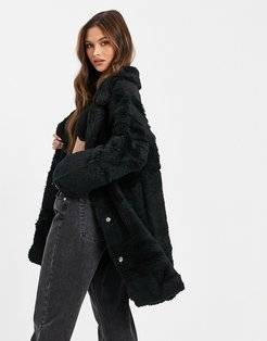 reversible faux shearling coat in black