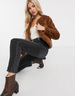Evelyn cropped faux-fur jacket in brown