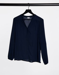 long sleeve collarless blouse in navy-Blue