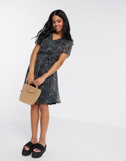 mini shift dress with tie waist in black ditsy floral-Multi