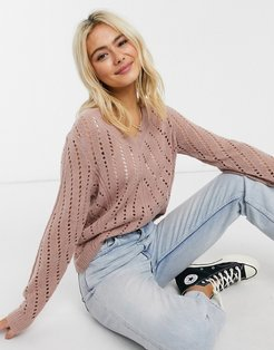 pointelle knit sweater in pink