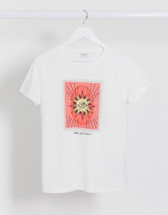 t-shirt with sun motif in white-Pink