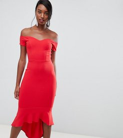 off shoulder ruffle midi dress in red