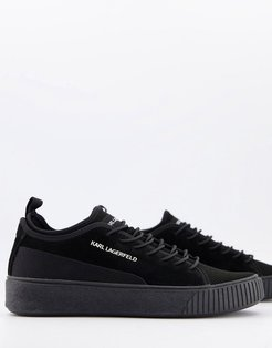 suede and mesh sneakers-Black