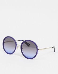 round sunglasses in blue-Blues