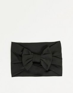 Midnight headband with bow tie in black