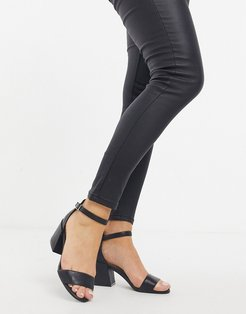 hannon heeled sandals in black leather