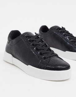 Kam sneakers in white leather-Black