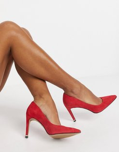 riley 85 mid heeled pumps in red leather-Grey
