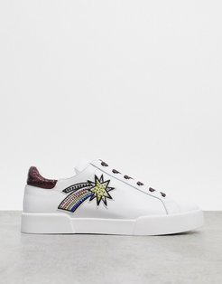 tyler space lace up sneakers in white leather
