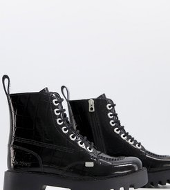Exclusive Kizziie ankle boots in black patent croc