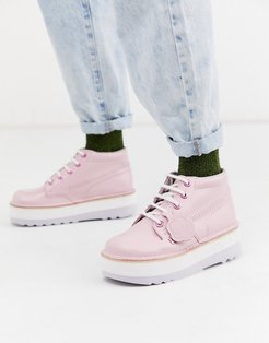 high stack leather boots in pink