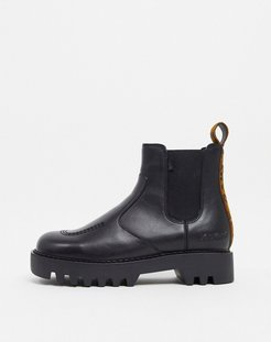 Kizziie chunky chelsea boots in black with leopard back tab