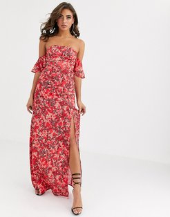 off shoulder maxi dress with thigh split in red leaf print-Multi