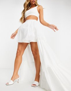 tiered high/low maxi skirt in white
