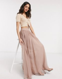 tulle maxi skirt in mink-Pink