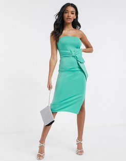 bandeau midi scuba dress with bow detail in green
