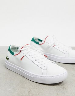 La Piquee knitted sneakers in white with green