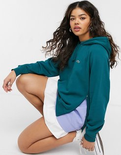 layered detail hoodie in green