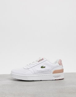 T-Clip leather sneakers in white and pink