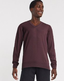 v-neck sweater-Red