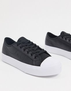 ziane leather lace up sneakers in black