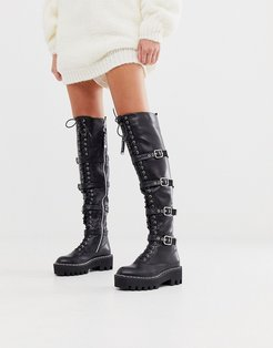 black extreme lace up flat over the knee boots