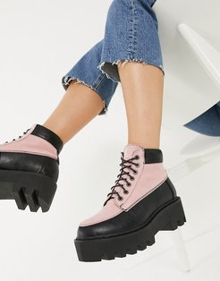 chunky hiker boots in pink