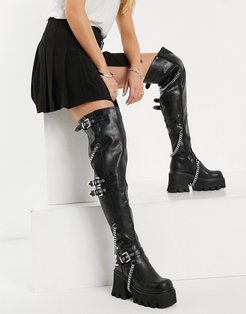 chunky over the knee boot with chains in black
