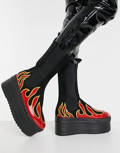 flame print chunky boots in black