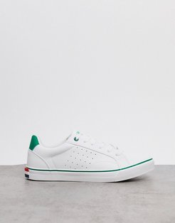 classic tennis sneakers in white with green trim