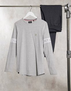 lounge printed long sleeve t-shirt in gray-Grey