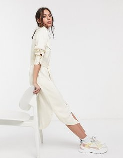 belted utility midi shirt dress in cream