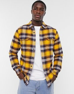jackson check flannel worker overshirt in golden yellow