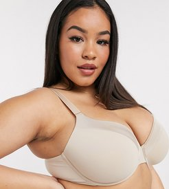 Curve recycled poly classic t-shirt bra in beige