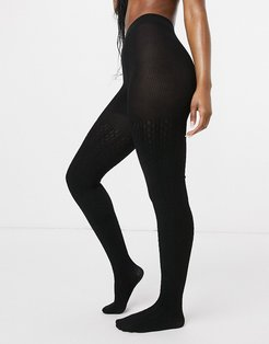 eco viscose cable knit tights in black